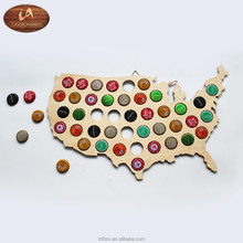 2018 Wholesale Custom Wood Beer Cap Map/Wall Bottle Cap Holder/Beer Cap Holder,Gifts for Men, Husbands, Dad/All States Available