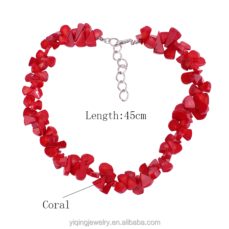 NYQ-00290-1 cheap price exquisite 2016 fashion elegant simple original red coral beaded necklace for gift daily anniversary
