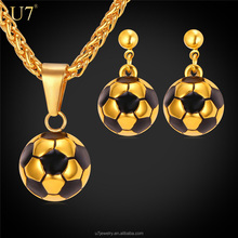 Football Necklace Earrings Set 18K Real Gold Plated Women Jewelry 2016 Soccer Necklace Stainless Steel Unique Design