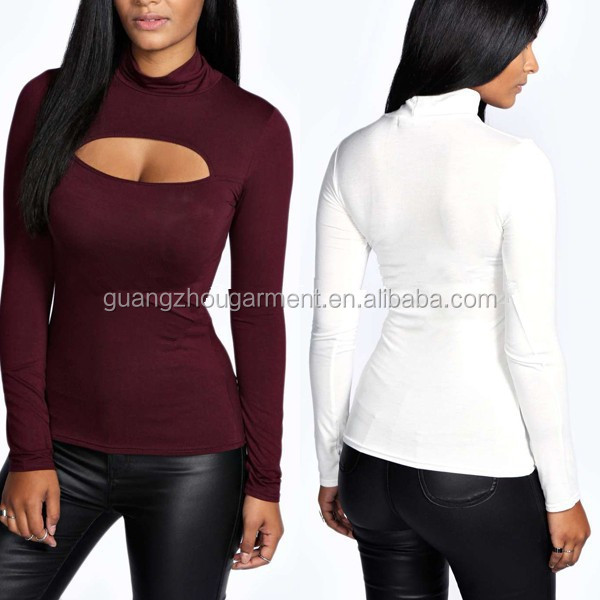 Ladies sexy open front stretch shirs Top Turtleneck Tunic design Blouse Tops