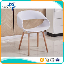 PP hollow back stackable wood legs leisure chair