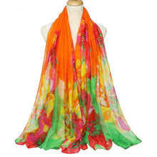 Gradient color flower shawl cotton voile scarf