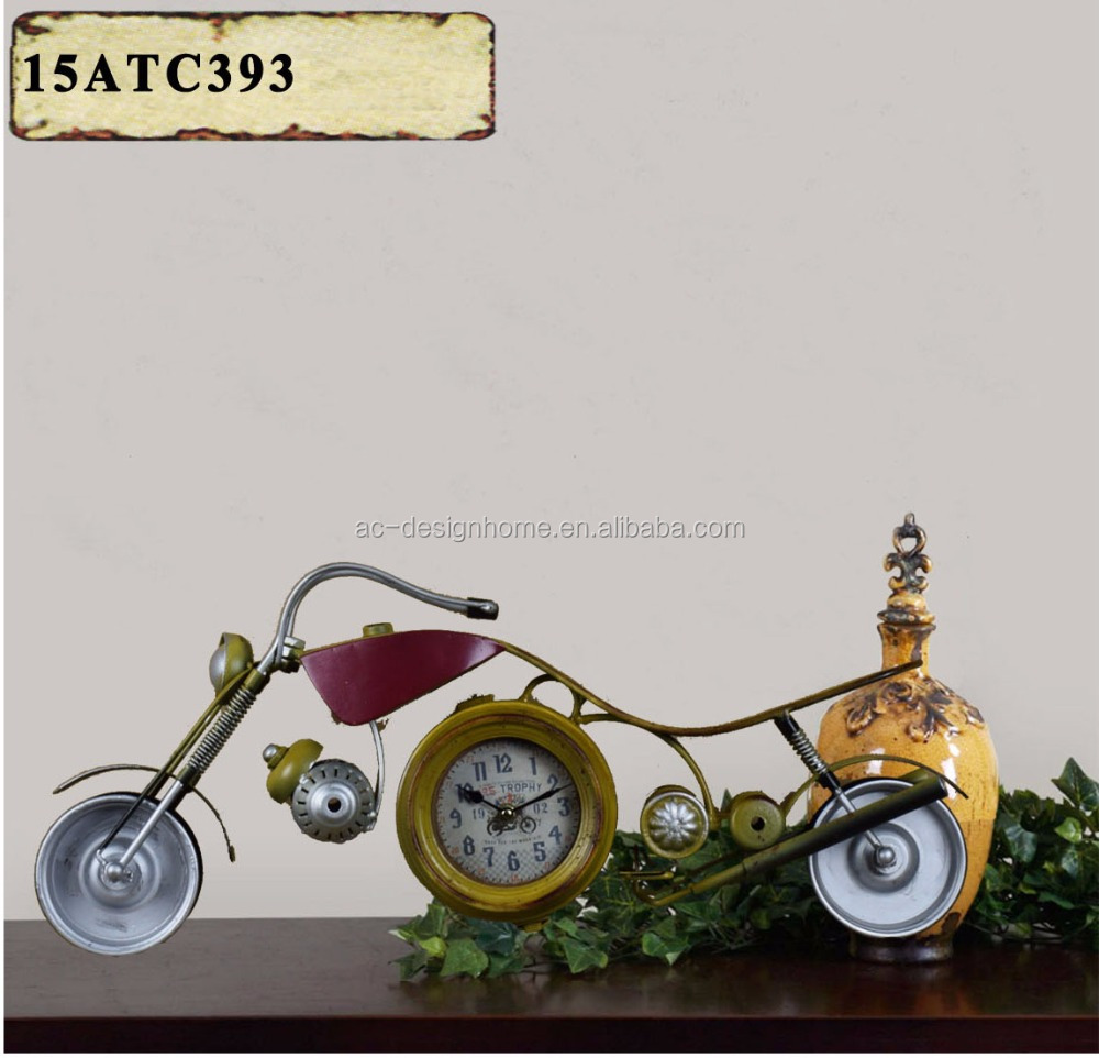 ANTIQUE YELLOW METAL MOTORCYCLES SHAPE TABLE TOP CLOCK