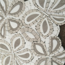 The high quality wooden Athens grey and thassos white marble medallion for home decoration