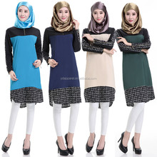 new elastic muslim plaid dress long sleeve short dress Saudi Arabia dress for women