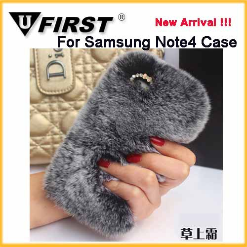 Rabbit fur Diamond Cover case;For Samsung Note4 flip fur cover ;Newest Plush Cell Cases for Iphone 6