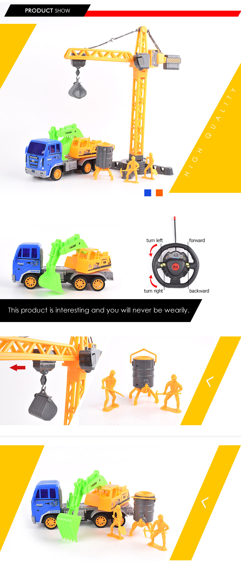 cheap sale 4ch excavator toy construction truck remote control for cranes price
