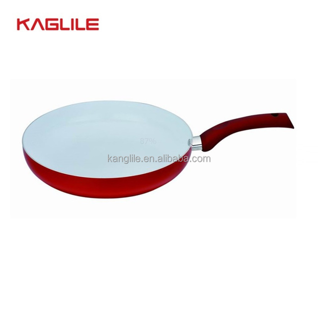 Aluminium induction round frying pan white ceramic fry pan