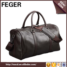 FEGER popular leather travel bag cowhide leather weekend bag leather tote bag for men