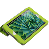 Fashion Flip Green PU Leather 3 Fold Tablet Case for Ipad Mini