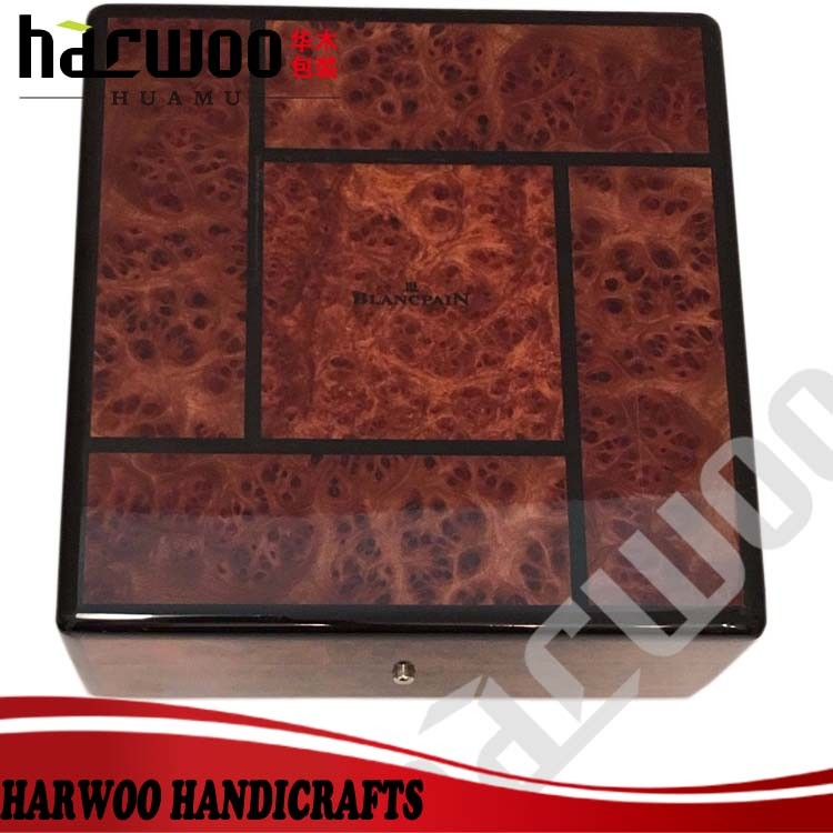 MDF wood glossy wooden watch display case,original wooden watch packaging box,Glossy lacquered wooden single watch box