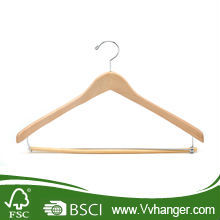 LH014 Chrome hook solid wood wholesale clothes hanger with locking bar