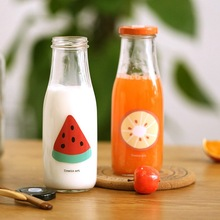 450 ml clear glass milk bottles with lids and straw beverge bottle wholesale 14oz glass bottles
