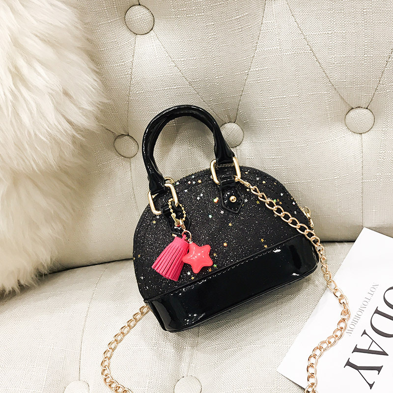7 Color Kids Girls Handbags Pu Leather Chain Shoulder Bag Bling Sequin Bags