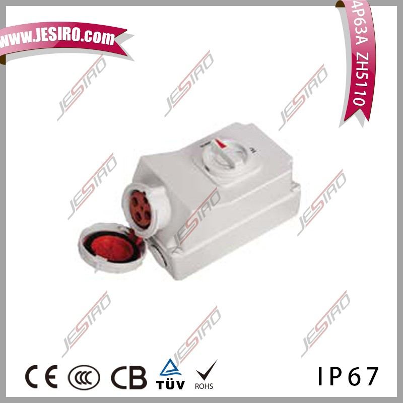 JESIRO IP67 63A 4P female Industrial mechanical interlock Plug and socket ZH5110