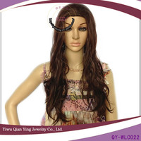 long nature brown curly invisible parting synthetic hair wigs
