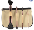Double end 4pcs makeup brush set in travel bag
