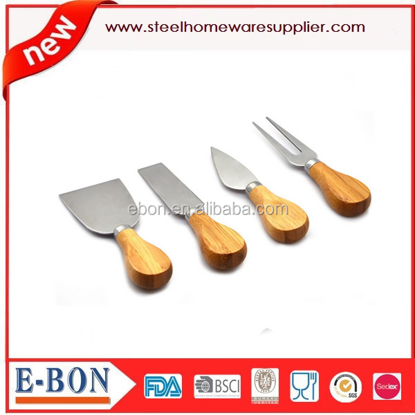 stainless steel cheese knife fork set with wooden handle