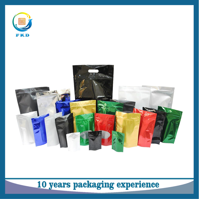2016 Hot sale industrial customized colorful aluminium foil printed stand up packaging plastic zipper bag with window
