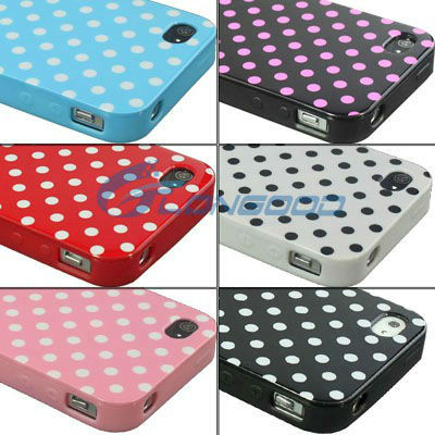 Cute Mobile Phone Cover Small Dots Pattern Plastic Case for iPhone 4 & 4S