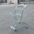 Yirunda zinc plated supermarket basket trolley with 2 plastic baskets
