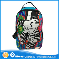 "Factory customized popular printed laptop backpack with 14"" laptop compartment, high quality nylon fabric school bag"