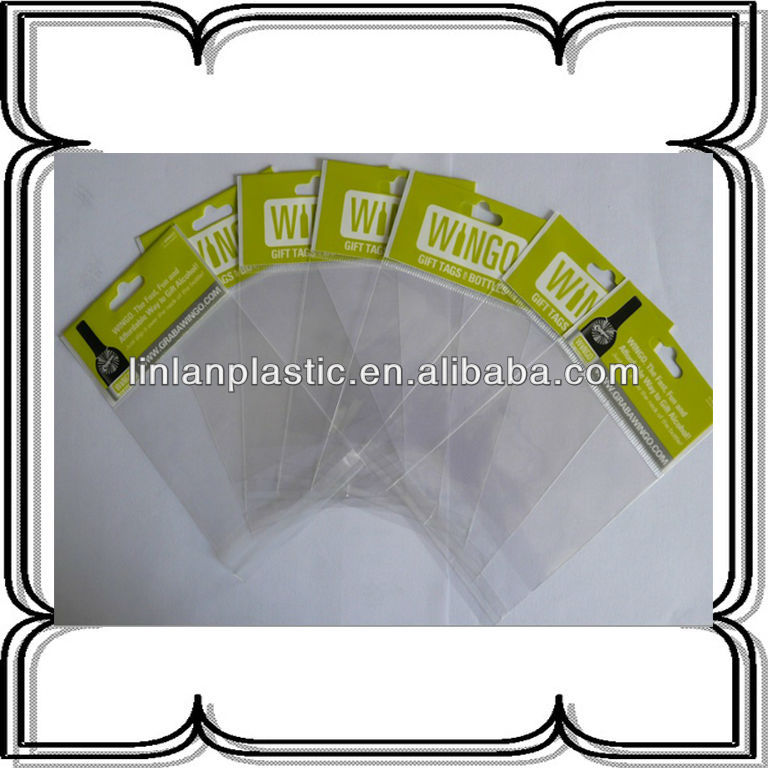 drink packaging plastic bag opp printing bag with header and self-adhesive