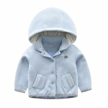 Spring Cute Baby Girls Applique Hooded Wool Fancy Thin Warm Coats