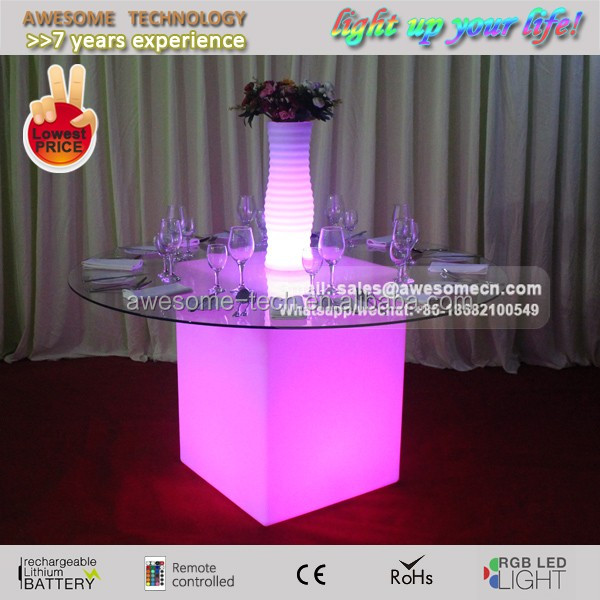 led glow decorative glass vase for wedding decoration