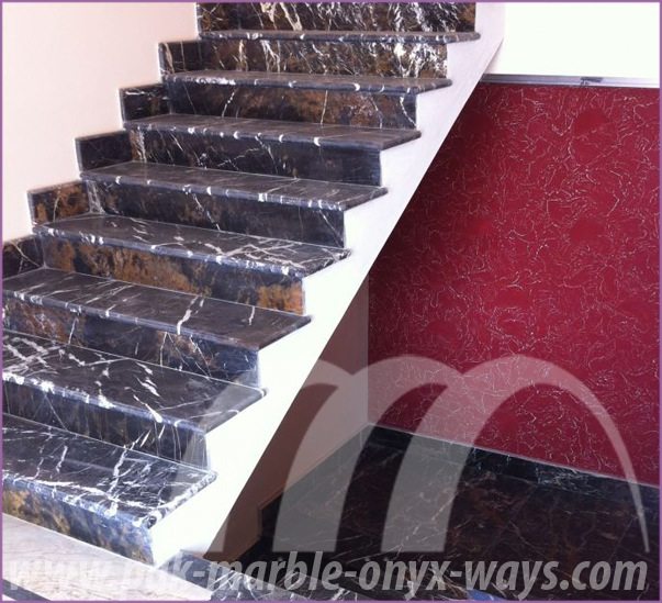 Stair Steps Black and Gold Marble