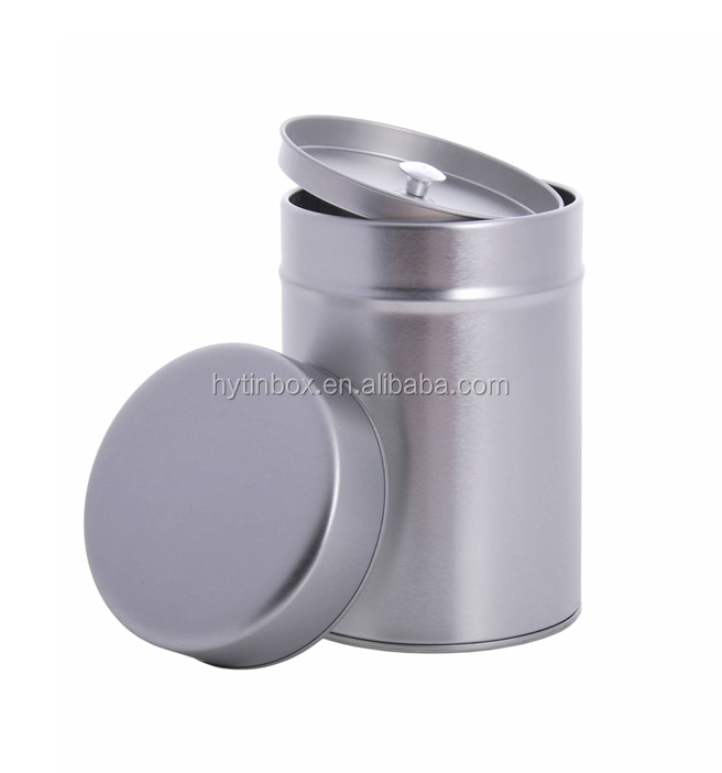 Silver plaind round tea tin box with double lids