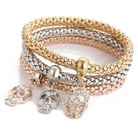 Gold and silver plating crystal beads pave alloy skull head pendant popcorn bracelet jewelry wholesale