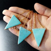 New! natural double loops turquoise triangle necklace, 24k gold plated sideway turquoise jewelry