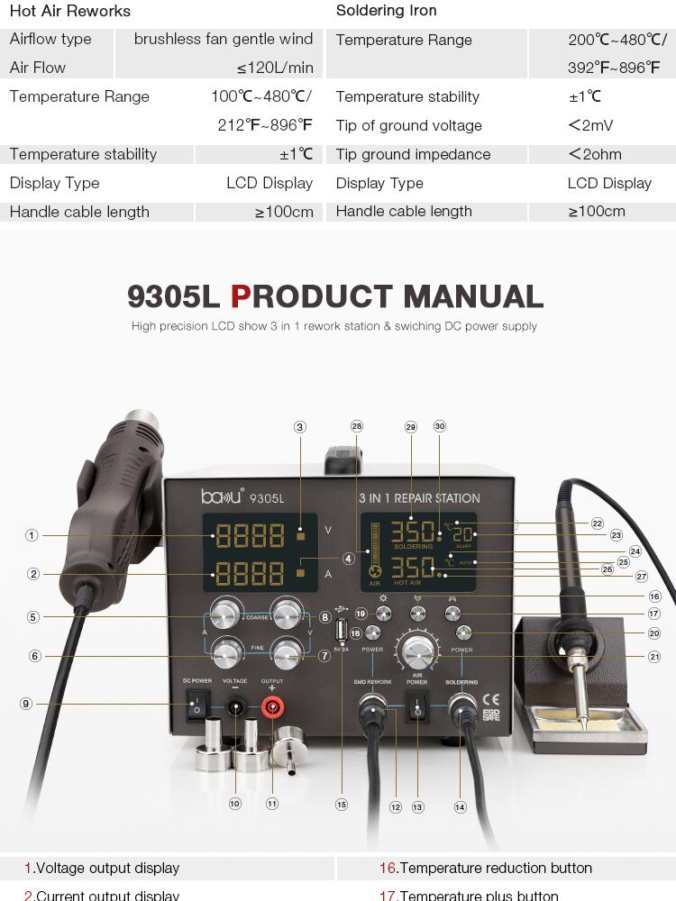 BAKU ba-9305L New Product Bga Smd 3 in 1 Hot Air Rework Soldering Station With Hot Air Welding Gun For Repair Cellphone