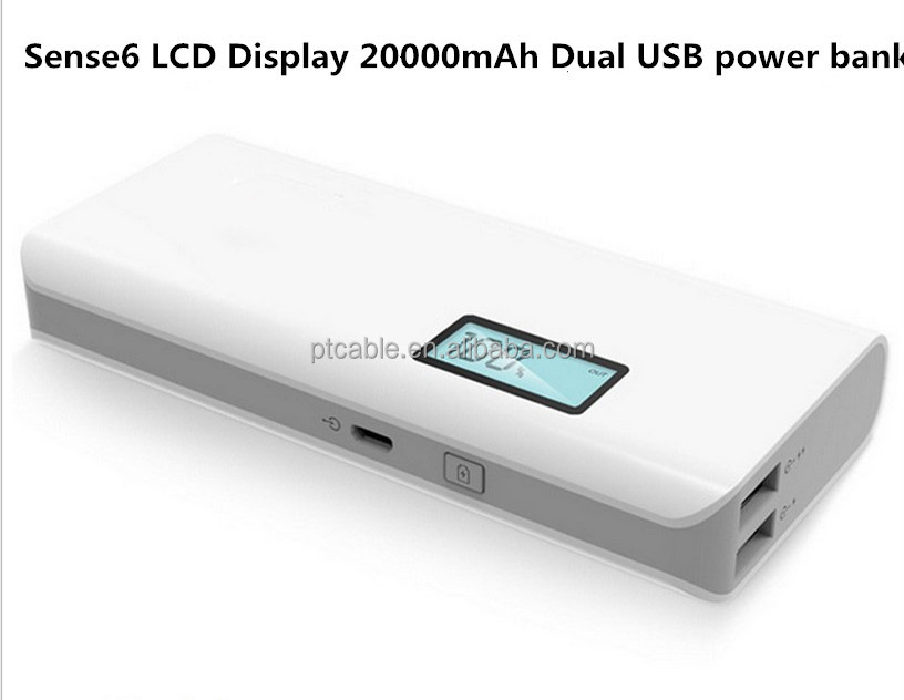 18650 Power Bank 20000mah Powerbank for iPhone5 6 7 Battery Charge 5V 2.1A Dual usb Ports Universal