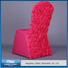 Lovely Dark Pink Rosette Spandex Chair Cover for wedding
