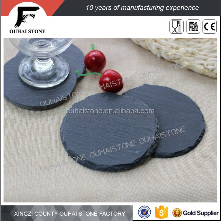 Natural slate drink coasters with logo