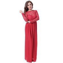 Cheap price open back design hot fashion red long sleeve evening dress