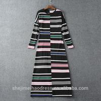 New European and American stripe polyester women casual one piece dress