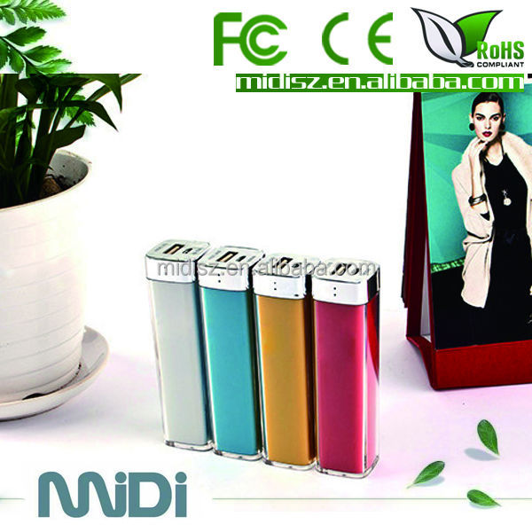 FACTORY HOT SALE Lipstick Colorful water powered mobile charger 2600mah
