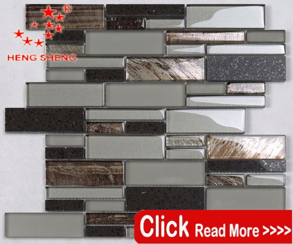 New Design 12x12 Kitchens Walls Glass Mixed stone mosaic tile