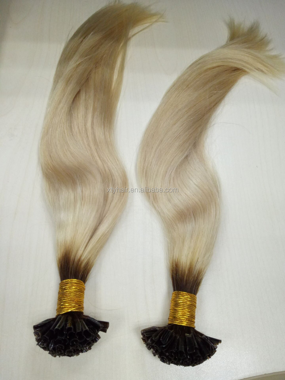 Alibaba express factory woholesale competitive price two tone color Nail U-tip human hair extensions, hair weft