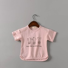 B21619A New design korea children t shirt lovely children cartoon t-shirt