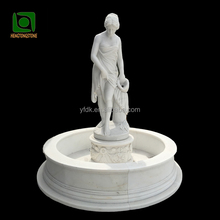 White Marble Garden Water Fountain with Lady Statue