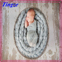 Custom warm heated chunky hand-woven baby knit blanket twist braid baby knit blanket