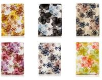 Happy Flower Pattern 360 Rotatable Side Flip Stand PC+PU Leather Case for iPad Air 2 with Elastic Belt