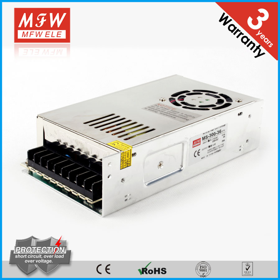 Free sample 300w 36v dc 100-240v 50-60hz power supply