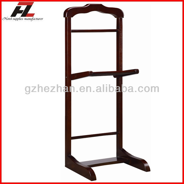 Wooden Clothes Valet Stand wtih Shoes Bar / Hotel Clothes Hanger Stand in Guangdong