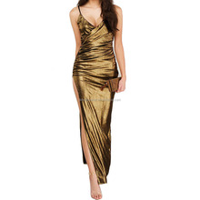 Gold Runway High Slit Sexy Drapery Slim Fit Backless Maxi Designer One Piece Party Dress