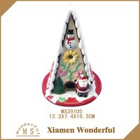 2016 news ceramic cookie house with led light for Christmas decoration